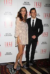 Rami Malek and Angela Sarafyan attending a photocall at Tabu Nightclub in Las Vegas.