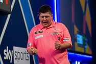 Keegan Brown (England) wins and celebrates during the William Hill World Darts Championship at Alexandra Palace, London, United Kingdom on 20 December 2020.