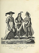 An omrah of state; a dancing girl; and a lady of the harem; all belonging to the Palace of Delhi Copperplate engraving by Chapman, John, fl. 1792-1823 -- Engraver From the Encyclopaedia Londinensis or, Universal dictionary of arts, sciences, and literature; Volume X;  Edited by Wilkes, John. Published in London in 1811
