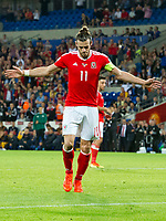 Football - 2018 World Cup - Qualifying 2016 / 2017 - Group D: Wales vs Moldova<br /> <br />  Gareth Bale scores his team's fourth goal from the penalty spot    …  at the Cardiff City Stadium<br /> <br /> pic colorsport/winston bynorth