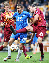 Conor Washington of Peterborough United in action with Bradford City's Rory McArdle - Mandatory byline: Joe Dent/JMP - 07966386802 - 26/09/2015 - FOOTBALL - Coral Windows Stadium -Bradford,England - Bradford City v Peterborough United - Sky Bet League One