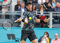 Tennis - 2019 Queen's Club Fever-Tree Championships - Day Three, Wednesday<br /> <br /> Men's Singles, First Round: Stefanos Tsitsipas (GRC) Vs. Kyle Edmund (GBR)<br /> <br /> Kyle Edmund (GBR) in action on Centre Court.<br />  <br /> COLORSPORT/DANIEL BEARHAM