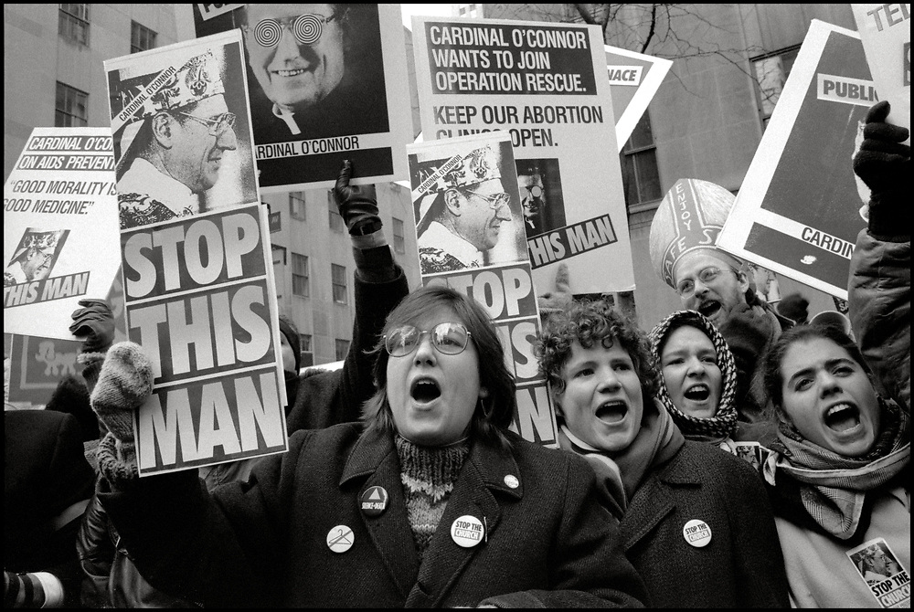 On December 8,1989, ACT UP and WHAM! made history with a massive protest at St.Patrick's Cathedral. Five thousand people protested the Roman Catholic Archdiocese's public stand against AIDS education and condom distribution, and its opposition to a women's right to abortion.