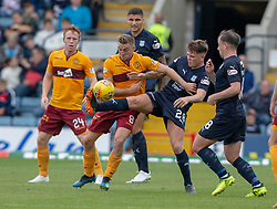 Motherwell's Allan Campbell and Dundee's Lewis Spence. Dundee 1 v 3 Motherwell, SPFL Ladbrokes Premiership game played 1/9/2018 at Dundee's Kilmac stadium Dens Park