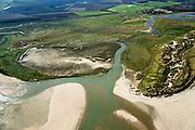 Nederland, Zeeland, Zeeuws-Vlaanderen, 19-10-2014; Het Zwin, oorspronkelijk zeearm, nu een strandgeul omgeven door schorren. Internationale Dijk en Willem-Leopoldpolder in de achtergrond.<br /> The Zwin, originally estuary, now a beach gully surrounded by marshes.<br /> luchtfoto (toeslag op standard tarieven);<br /> aerial photo (additional fee required);<br /> copyright foto/photo Siebe Swart