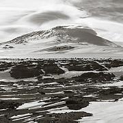 12,400 ft Mount Erebus from Wind Vane Hill, Cape Evans, Antarctica.