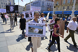 May 27, 2017 - Zagreb, Croatia - Protester take part at International March for release of animals to Close all Slaughterhouses at Ban Josip Jelacic square, in Zagreb, Croatia on 27 May 2017. (Credit Image: © Alen Gurovic/NurPhoto via ZUMA Press)