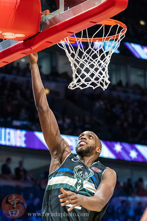 February 15, 2020; Chicago, Illinois, USA; Milwaukee Bucks forward Khris Middleton (22) participates in the skills challenge during NBA All Star Saturday Night at United Center.