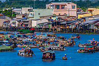 Overview of the Cai Rang Wholesale Floating Market, near Can Tho, Mekong Delta, Vietnam.