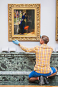 The return and re-hanging of the nation's Pre-Raphaelite works, including Millais' Ophelia, to Tate Britain. They are going back on display from Thursday 7 August 2014 after being seen by over 1.1 million people worldwide. They include: John Everett Millais' , Ophelia; Beata Beatrix by Dante Gabriel Rossetti; The Lady of Shalott by John William Waterhouse; The Beloved by Rossetti; and Mariana (pictured centre)  by John Everett Millais. These works are being displayed in the 'grand' surroundings of the 1840 galleries as part of the BP Walk through British Art. <br /> Millbank,  London, UK.