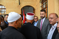 New Druze leader Taymur Jumblatt (or Taymour Joumblatt), 2nd from right, seen in his palace, in Moukhtara, in the Chouf Mountain, in Lebanon, on April 28, 2018, as he receives his people, a week before general elections that will take place in Lebanon on May 6. Photo par Ammar Abd Rabbo/ABACAPRESS.COM