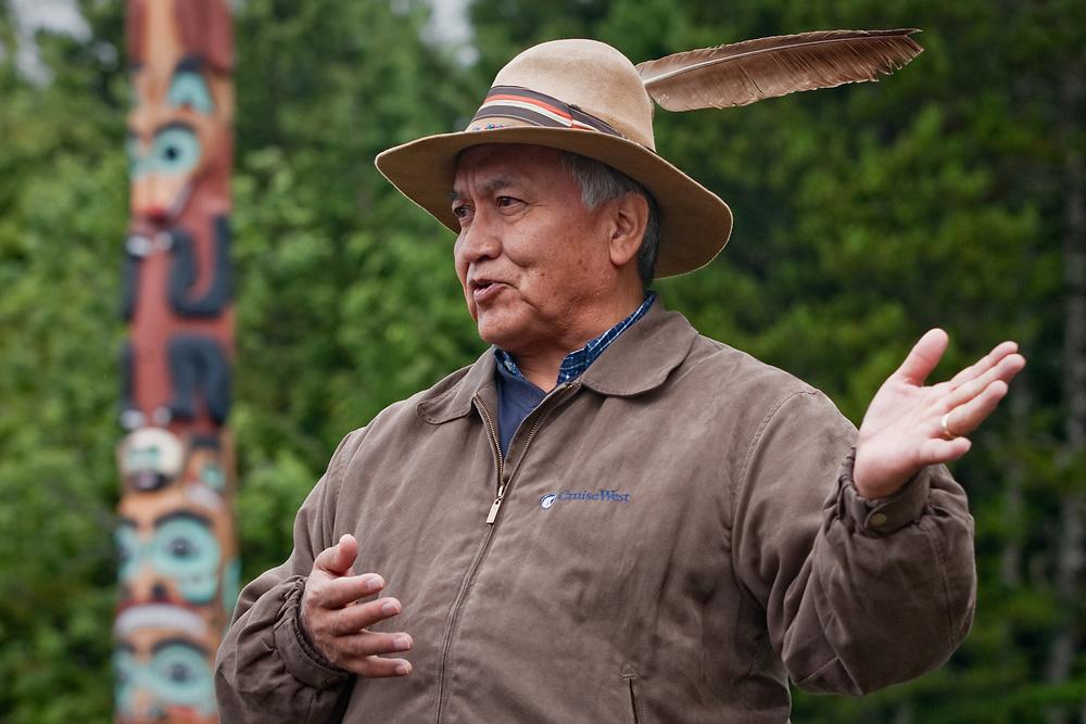 Borough Mayor, Joe Williams, during a tour at Saxman Totem Park near Ketchikan
