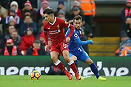Philippe Coutinho of Liverpool looks to turn past Christian Fuchs of Leicester City. Premier League match, Liverpool v Leicester City at the Anfield stadium in Liverpool, Merseyside on Saturday 30th December 2017.<br /> pic by Chris Stading, Andrew Orchard sports photography.