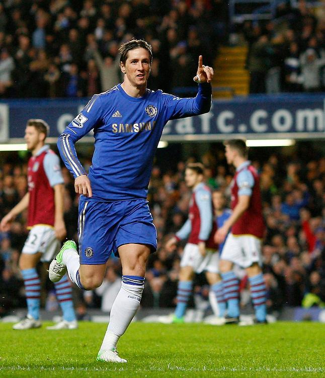 Chelsea's Fernando Torres celebrates scoring his sides first goal ..Football - Barclays Premiership - Chelsea v Aston Villa - Sunday 23rd December 2012 - Stamford Bridge - London..