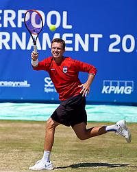 LIVERPOOL, ENGLAND - Sunday, June 24, 2018: Robert Kendrick (USA), wearing an England football shirt, during day four of the Williams BMW Liverpool International Tennis Tournament 2018 at Aigburth Cricket Club. (Pic by Paul Greenwood/Propaganda)