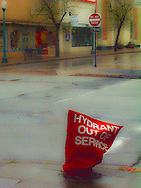 Digital painting of a downtown Bremerton, Washington scene at Pacific Avenue and Forth Street with a notice on a fire hydrant that it is out of service.
