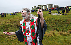 Arthur Pendragon (formerly John Rothwell), Druid and self-appointed king, at Stonehenge in Wiltshire on the winter solstice to witness the sunrise after the longest night of the year.