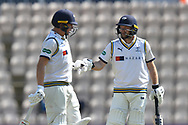 Gary Ballance of Yorkshire and Adam Lyth of Yorkshire touch gloves during the Specsavers County Champ Div 1 match between Hampshire County Cricket Club and Yorkshire County Cricket Club at the Ageas Bowl, Southampton, United Kingdom on 11 April 2019.