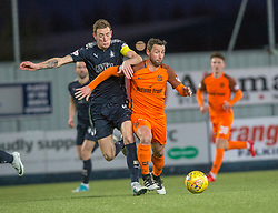 Falkirk's Aaron Muirhead and Dundee United's Scott McDonald. Falkirk 6 v 1 Dundee United, Scottish Championship game played 6/1/2018 played at The Falkirk Stadium.