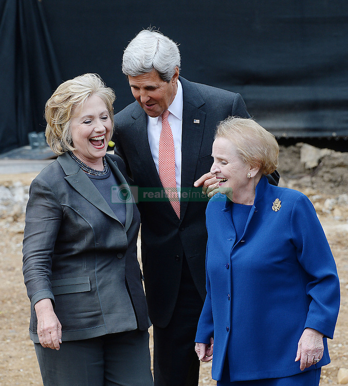 Secretary of State John Kerry is flanked by former Secretaries of State Madeleine K. Albright and Hillary Rodham Clinton at the groundbreaking ceremony for the U.S. Diplomacy Center, at the Department of State in Washington, DC, USA on September 3, 2014. Photo by Olivier Douliery/ABACAPRESS.COM