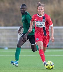 Carl Lange (FC Helsingør) under træningskampen mellem FC Helsingør og Næstved Boldklub den 19. august 2020 på Helsingør Stadion (Foto: Claus Birch).
