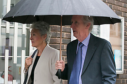"© Licensed to London News Pictures. 14_07_2015. Solihull, West Midlands, UK. Pictured, the parents of Edward Maher? arrive at the inquest. The inquest into the deaths of three army reservists taking place at Solihull Council House. Edward Maher, Craig Roberts and James Dunsby died after collapsing during an SAS training exercise on the Brecon Beacons in July 2013. The soldiers, from Hampshire, North Wales and Wiltshire, all suffered heatstroke during the 16-mile ""test week"" march. Photo credit : Dave Warren/LNP"
