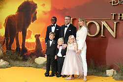Guy Ritchie, Jacqui Ainsley, David Banda, Rafael Ritchie, Rivka Ritchie and Levi Ritchie attend The Lion King premiere in London.<br /><br />14 July 2019.<br /><br />Please byline: Vantagenews.com<br /><br />UK clients should be aware children's faces may need pixelating.
