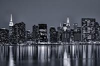 Midtown Manhattan Skyline & East River (monochrome)