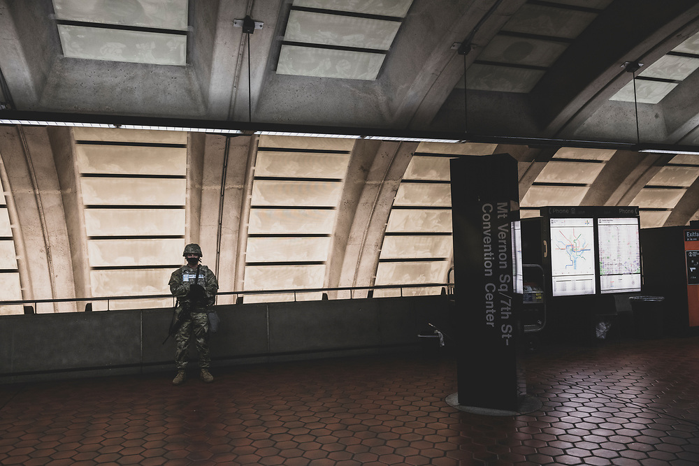 Washington DC - January 20, 2021: A National Guardsman is posted inside the Mt Vernon Square 7th St-Convention Center on the morning of the Biden Inauguration.