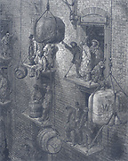 Warehouses in the city of London. From Gustave Dore and Blanchard Jerrold 'London: A Pilgrimage' London 1872.