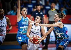 Nicole Romeo of Italy between Tina Jakovina of Slovenia and Eva Rupnik of Slovenia during basketball match between Women National teams of Italy and Slovenia in Group phase of Women's Eurobasket 2019, on June 30, 2019 in Sports Center Cair, Nis, Serbia. Photo by Vid Ponikvar / Sportida