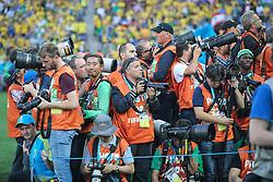 Fotojornalistas na partida contra a Croácia na estréia da Copa do Mundo 2014, na Arena Corinthians, em São Paulo. FOTO: Jefferson Bernardes/ Agência Preview