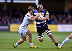 Leroy Houston of Bath Rugby takes on the Exeter defence - Mandatory byline: Patrick Khachfe/JMP - 07966 386802 - 17/10/2015 - RUGBY UNION - The Recreation Ground - Bath, England - Bath Rugby v Exeter Chiefs - Aviva Premiership.