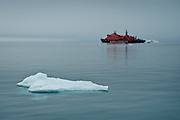 The Russian nuclear icebreaker 50 Years of Victory in the British Channel of Franz Josef Land, Russian Arctic.