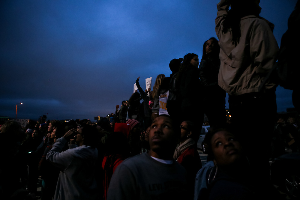 Protestors occupy both directions of the I-880 freeway following the separate fatal officer-involved shootings of Alton Sterling and Philando Castile, in Oakland, Calif., Thursday, July 7, 2016.<br /> <br /> Sterling was shot by two white Baton Rouge Police Department officers in Baton Rouge, Louisiana and Castile was shot by a St. Anthony police officer in Falcon Heights, Minnesota.