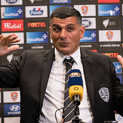 BRISBANE, AUSTRALIA - OCTOBER 7: Brisbane Roar coach John Aloisi during the press conference after the round 1 Hyundai A-League match between the Brisbane Roar and Melbourne Victory at Suncorp Stadium on October 7, 2016 in Brisbane, Australia. (Photo by Patrick Kearney/Brisbane Roar)