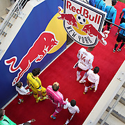 Thierry Henry, New York Red Bulls, leads his team out onto the pitch during the New York Red Bulls Vs Columbus Crew, Major League Soccer regular season match at Red Bull Arena, Harrison, New Jersey. USA. 19th October 2014. Photo Tim Clayton