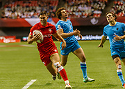 VANCOUVER, BC - MARCH 10: Justin Douglas (#8) of Canada scores during Game # 23- Canada vs Uruguay Pool A match at the Canada Sevens held March 10-11, 2018 in BC Place Stadium in Vancouver, BC. (Photo by Allan Hamilton/Icon Sportswire)
