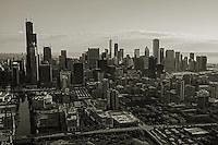 Chicago Skyline above Roosevelt Road