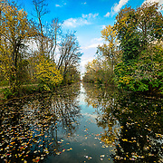 I was walking along the D&R canal on a spectacular autumn day.  While sitting on one of the bridges over the canal I got this shot, blue sky, colorful leaves and all.