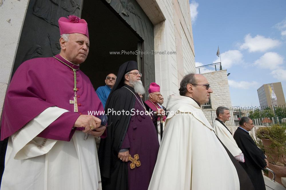 Israel, Haifa, Our Lady of Mt. Carmel Greek Orthodox Parish Church procession The Perish leaders. Sunday, 29th April 2007