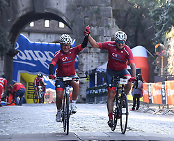 ROME, Oct. 14, 2018  Cyclists ride to the finish line during the ''Campagnolo Granfondo Roma'' cycling event in Rome, Italy, Oct. 14, 2018. About 5,000 cyclists take part in the seventh edition of the ''Campagnolo Granfondo Roma' (Credit Image: © Alberto Lingria/Xinhua via ZUMA Wire)