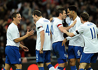 Football -<br />  International Friendly -<br />  England vs. Spania 1-0<br /> Frank Lampard - England celebrates his goal with Joleon Lescott, Hil Jones and Phil Jagielka<br /> <br /> Norway only