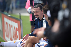 March 31, 2018 - Carson, CA, U.S. - CARSON, CA - MARCH 31: Zlatan Ibrahimovic (9) of the Los Angeles Galaxy sits on the bench for player introductions during an MLS soccer match between Los Angeles FC and the Los Angles Galaxy on March 31, 2018 at StubHub Center in Carson, CA. (Photo by Chris Williams/Icon Sportswire) (Credit Image: © Chris Williams/Icon SMI via ZUMA Press)