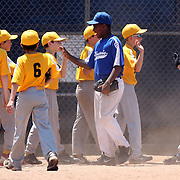 Players from opposing teams high five after the game during the Norwalk Little League baseball competition at Broad River Fields,  Norwalk, Connecticut. USA. Photo Tim Clayton