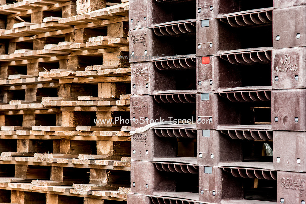 A stack of wood pallets