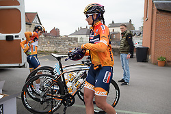 Nikki Brammeier (GBR) of Boels-Dolmans Cycling Team swaps her helmet before the Tour de Yorkshire - a 122.5 km road race, between Tadcaster and Harrogate on April 29, 2017, in Yorkshire, United Kingdom.