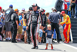 July 29, 2018 - Long Pond, PA, U.S. - LONG POND, PA - JULY 28:   Monster Energy NASCAR Cup Series driver Clint Bowyer Haas 30 Years of the VF1 Ford (14) and his son during driver introductions prior to the Monster Energy NASCAR Cup Series - 45th Annual Gander Outdoors 400 on July 29, 2018 at Pocono Raceway in Long Pond, PA. (Photo by Rich Graessle/Icon Sportswire) (Credit Image: © Rich Graessle/Icon SMI via ZUMA Press)
