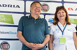 Zoran Jankovic, mayor of Ljubljana and Mojca Novak of Adria Mobil during trophy ceremony after the Stage 2 of 24th Tour of Slovenia 2017 / Tour de Slovenie from Ljubljana to Ljubljana (169,9 km) cycling race on June 16, 2017 in Slovenia. Photo by Vid Ponikvar / Sportida