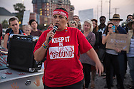 November 15, 2016, Gulf Coast activist Cherri Foytlin, head of Bold Louisiana speaks to over 150 people protest against the Dakota Access Pipeline in New Orleans outside the US Army Corp of Engineers headquarters in a show of solidarity with the Standing Rock Sioux tribe, whose fight against the pipeline has made international news.